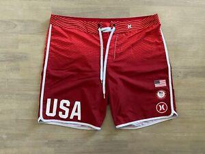 "Hurley Phantom Team USA Olympics 18"" Board Shorts Mens Size 36 Pre Owned"