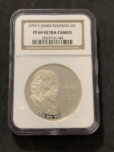 1993 S James Madison NGC PR69 Ultra Cameo Silver Dollar Commemorative Coin