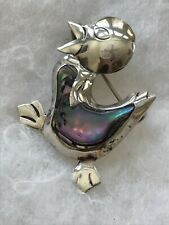 Chick brooch abalone shell inlay Vintage signed Taxco Mexico sterling Silver