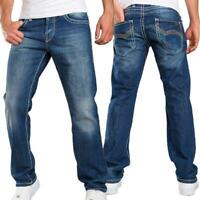 Redbridge Herren Jeans Hose Regular Fit Dicke Nähte Blue Denim Mens Pants RB-92