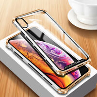 Slim Metal Element Back Tempered Glass Shockproof Cover Case For iPhone 11 Pro X