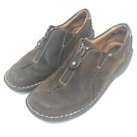 Clarks Artisan Front-Zip Moccasins Womens Size 7 M Brown Leather Slip-On Loafers