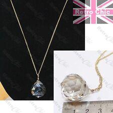 Gran Cristal Facetado Gota Colgante Collar Cadena Larga Moda Oro Fino Vidrio Orb