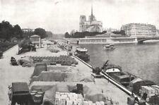 PARIS. La Seine, Aux approches de Notre- dame 1900 old antique print picture