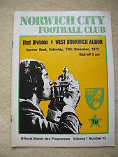 Norwich City v West Bromwich Albion Football Programme 1972/1973