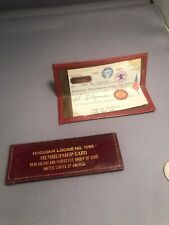 Vintage Hoquiam Lodge no 1082 Order of the Elks leather membership card holder.