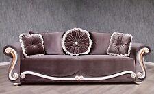 Barock Sofa Couch 3 Sitzer Antik Massiv anthrazit Stil Art Polstermöbel Vintage