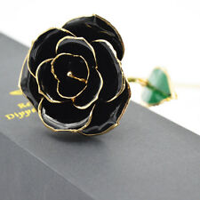 "WR 11"" Black Rose 24K Gold Dipped Trim Flower Wedding Birthday Decor Gift In Box"