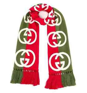 Gucci Men's Interlocking GG Logo Multicolor Two-Toned Scarf
