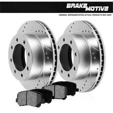 Rear Drilled & Slotted Brake Rotors And Metallic Pads For Excursion F250 F350