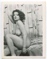 Smoking Hot Female Great Legs Dangling Boobs 1950 Original Nude Photo  B4189