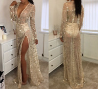 Womens Deep V-neck Sequins Formal Sexy Evening Party Ball Prom Gown Maxi dress