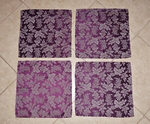 *RARE* 4-Piece MARTHA STEWART EVERYDAY Purple Grey Grape Leaf Jacquard Placemats