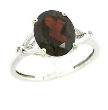 Sterling Silver Gorgeous Natural Garnet and Diamond Ring Oval 10x8 mm, Size 10