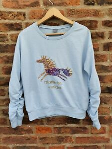 🦄🦄 NEXT Girls I'D RATHER BE A UNICORN Sequined Blue Sweatshirt 13y