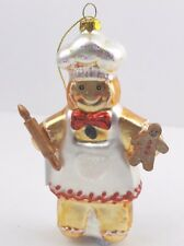 §GISELA GRAHAM CHRISTMAS GLASS GINGERBREAD CHEF DECORATION