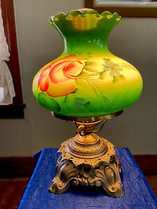 Hurricane Table Parlor Lamp Hand Painted Floral Electric 3 Way Antique Brass