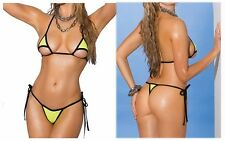 Maillot de bain mini micro bikini brésilien sexy vert fluo cheeky exhib string