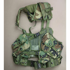 3961 US GI Issue Tactical Load Bearing Vest LBV Woodland Camo & Pistol Belt LG
