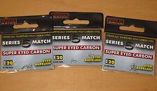 3 pacchetti di Fox serie 5 MATCH SUPER Eyed GANCI CARBONIO-Barbless 20V