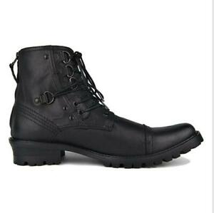 Punk Rock Mens Genuine Leather Lace Up Motorcycle Combat Cowboy Boots Chic Shoes