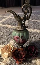 Antique Victorian 1800s Ewer Urn Vase Hand Painted Milk Glass Red Roses Brass