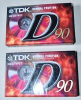 2X NEW TDK D-90EB CASSETTE TAPE RELIABLE MULTI-PURPOSE TAPE 2 IN 1 BUNDLE