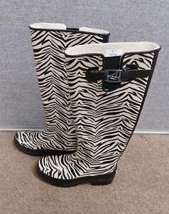 Womens Size 5 Sperry Rain Boots Zebra Print