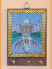 Gemstone Taj Mahal Painting Wood Key Wall Holder with Three Hooks from India