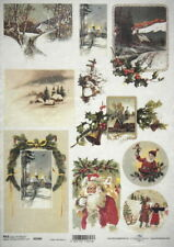 Rice Paper for Decoupage Vintage Christmas Winter Santa 33x49cm DFS232