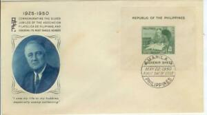 1950 Philippines First Day Cover - President Franklin Roosevelt souvenir sheet