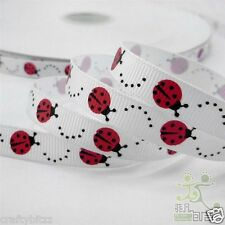 2 meter 3/8 9mm 9mm ladybug ribbon printed grosgrain ribbon hairbow