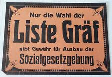 RARE RARITÄT TRACT FLUGBLATT WEIMAR REPUBLIK SPD GRÄF 1919 WAHLEN DEUTSCHLAND