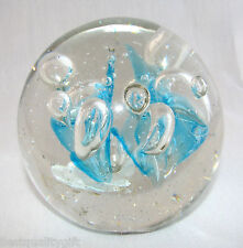 New Art Glass Light Blue and Gold Leaf Bubble Ball Paperweight/Decorative Piece