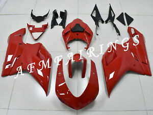 Solid Red ABS Injection Mold Bodywork Fairing Kit for Ducati 848/1098/1198 07-12