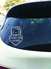 Baby On Board Hello Kitty Vehicle Sticker Window Decal 7 Inches White