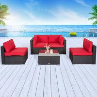 4PCs Rattan Patio Wicker Sofa Set Sectional Couch PE Outdoor Furniture Garden