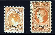 NETHERLANDS 1920 Surcharged 2.50 on High Values Issue SG 236 & SG 237 VFU