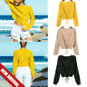 Winter Bandage Sweater Women Lace Up Crop Casual Long Sleeve Solid Knit Pullover