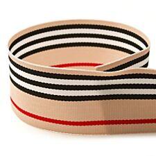 """5 yards 1.5"""" Beige Black White Red Stripes Kaila Blvd Woven Grosgrain Ribbon"""