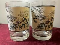 Set of 2 Vintage Currier & Ives 1978 Arby's Collector's Christmas Snow Glasses