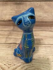Mexican Folk Art Red Clay Hand Painted Blue Cat Figurine 6 in Tall Animal Cancun