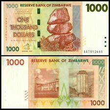 Zimbabwe 1000 1.000 Dollars 2007 PREFIX AB Pick 71 NEW UNC