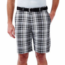 Haggar Men's Shorts Cool 18 Classic Fit Flat Front Black Plaid Shorts Size 42