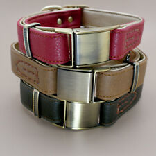 Top Genuine Leather Dog Collar Quick Release Buckle Small Medium Red Brown Green