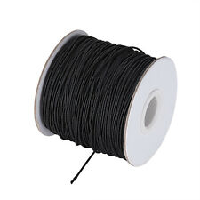 109yds/Roll Round Nylon Elastic Cords Stretch Threads Black Rubber Inside 1mm