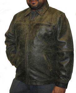 Men's genuine cowhide distress brown color leather zipper closure jacket