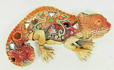 Chameleon Mosaic Wall Art Red with Mirrors Wildlife