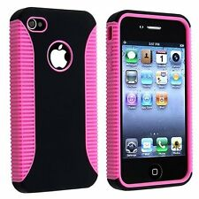 Hybrid Ribbed Case for iPhone 4 / 4S - Pink/Black