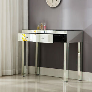 Dressing Table Mirrored Console Table Vanity Desk Computer Desk w/ Drawer Silver